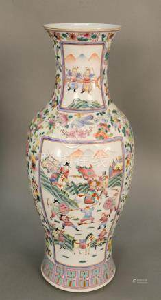 Large Famille rose porcelain vase with interior courtyard sc