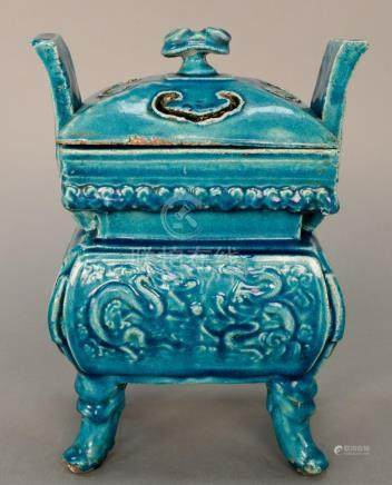 Turquoise ceramic covered censer, China, (possibly Ming), in