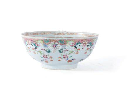 A Chinese 'Famille Rose' small punch bowl, Qianlong