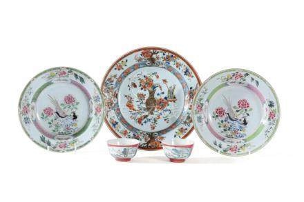 A Pair of Chinese 'Famille Rose' soup bowls, 18th century and other items
