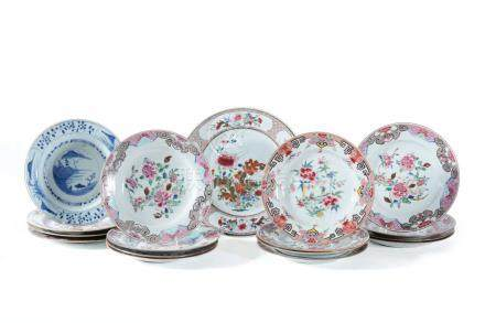 A set of four Chinese 'Famille Rose' plates and other examples