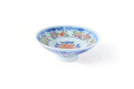 A Chinese blue and white 'Famille Rose' and iron red cover for a bowl, Qianlong