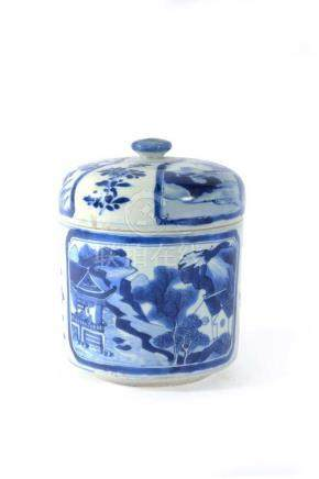 A Chinese blue and white jar and cover, Kangxi