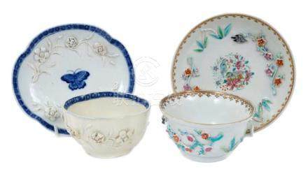 18th century Chinese famille rose tea bowl and...