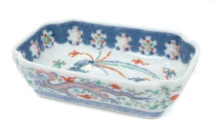 18th century Chinese famille verte rectangular...