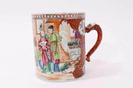 18th century Chinese export tankard painted...