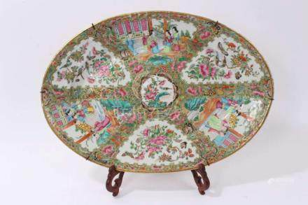 Late 19th century Cantonese porcelain oval...