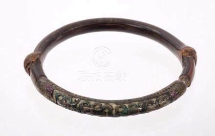 Antique Tibetan silver and bamboo bangle, the...