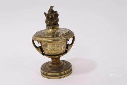 19th century French ormolu incense burner and...