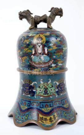 Fine Chinese Qing period cloisonné bell,...