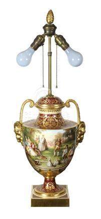 Royal Berlin hand painted vase mounted as a lamp, depicting a festive scene painted in the round,