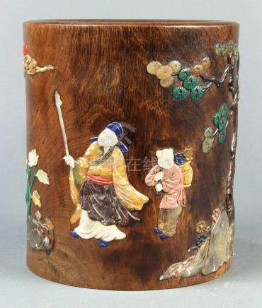 Chinese stone overlaid hardwood brush pot, featuring a scholar and a young attendant walking by a