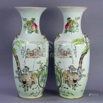 Pair of Chinese enameled porcelain vases, of baluster form with a herder boy on an ox, a villager
