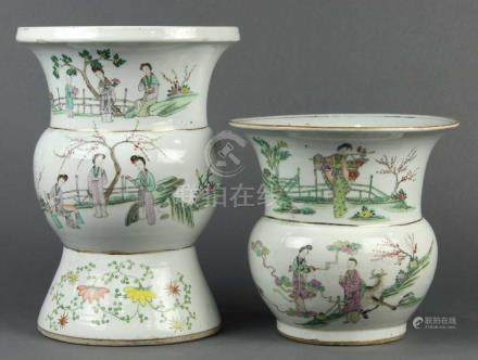 (lot of 2) Chinese enameled porcelain, consisting of a zhadou and a gu-form vase, each decorated