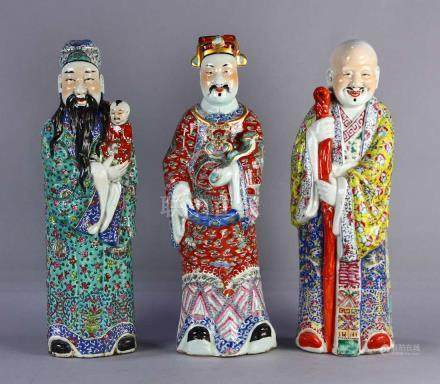 (lot of 3) Chinese porcelain Three Star Immortals, featuring Fu, Lu and Shou, each in a standing