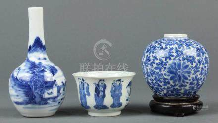 (lot of 3) Group of Chinese underglaze blue porcelain: first, a jarlet featuring floral scrolls,