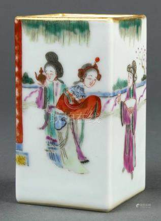 Chinese enameled small brush pot, of rectangular form decorated with beauties and scholars in a