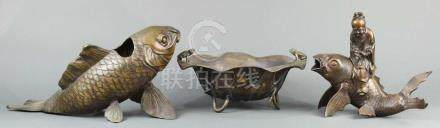 (lot of 3) Japanese bronze censers, in the form of namazu fish, one with a scholar on the top: