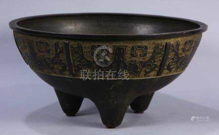 Japanese large bronze Shinto temple water bowl/censer, the circular form on tripod base, exterior