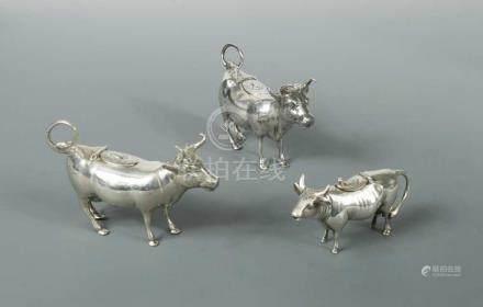 An Edward VII silver semi-naturalistic cow creamer, sponsor's mark Berthold Muller, Chester import