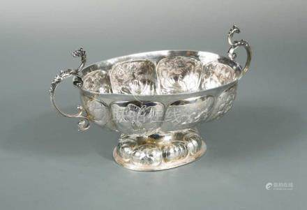 A 17th century Dutch metalwares brandy bowl, maker's mark not traced, Groningen 1667/1668, of oval