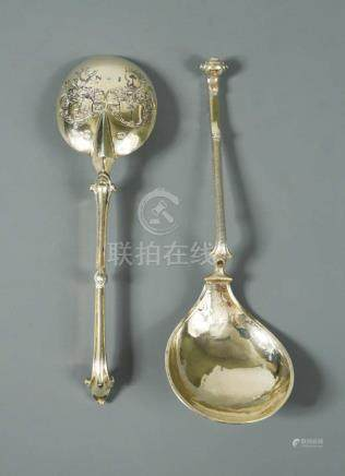 A continental metalwares gilded brandy bowl spoon, Maker's mark not traced, possibly Dutch, the oval