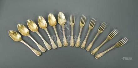 A small collection of 18th century French metalwares flatware, marks indistinct, possibly Paris