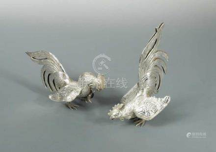 A pair of 20th century continental silver fighting cocks, sponsor's mark Israel Freeman & Son,