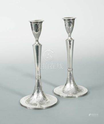A pair of Austrian metalwares table candlesticks, maker's mark not traced, Lubiana 1802, 13 loth (