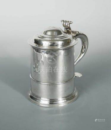 A George I Britannia silver lidded tankard, by Robert Timbrell & Joseph Bell I, London 1715,