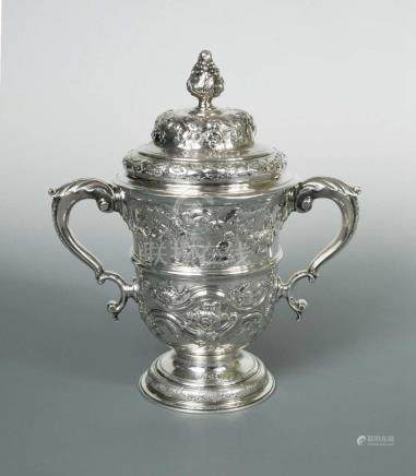 A George II silver two handled trophy cup and cover, by Thomas Whipham, London 1751, of slightly