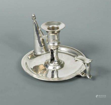 A George II silver chamberstick with a later snuffer, by Jas Gould, London 1736, of traditional