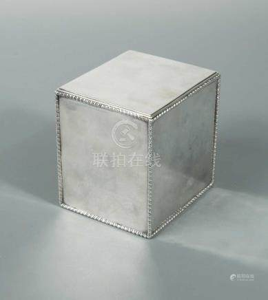 A George III silver tea caddy, by Thomas Hemming, London 1774, of very plain rectangular form with