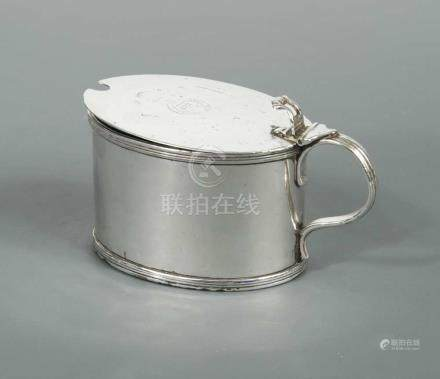 A George III silver large oval mustard, by William Stroud, London 1792, with blue glass liner and