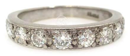 White gold nine stone diamond half eternity ring,