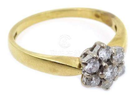 Gold diamond cluster ring, hallmarked 18ct Condition Report Approx 4.