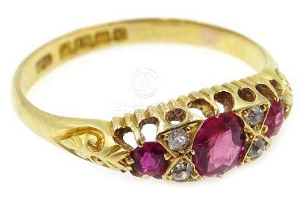 Edwardian 18ct gold ruby and diamond ring,
