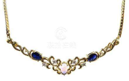 Gold sapphire, opal and diamond necklace, hallmarked 9ct Condition Report Approx 7.