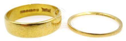 Two 22ct gold wedding bands, hallmarked, approx 6.