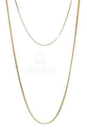 Two 9ct gold necklace chains, stamped 375, approx 4.
