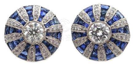 Pair of platinum (tested) sapphire and diamond circular stud ear-rings Condition Report