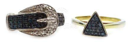 Diamond set silver band, diamond and stone set buckle ring and a stone set triangle ring,