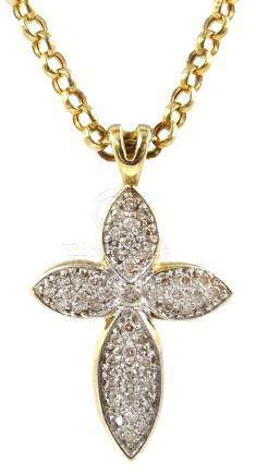 9ct gold cross diamond pendant necklace, stamped 375 Condition Report Approx 5.