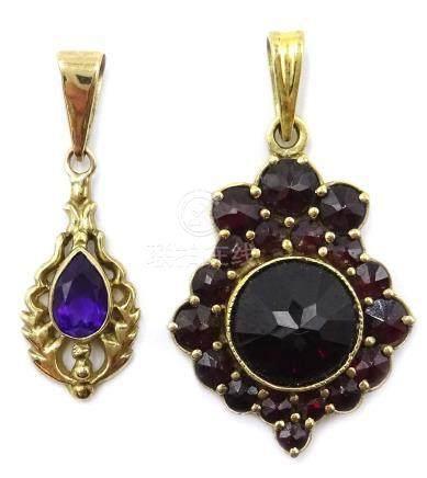 Continental gold garnet pendant,