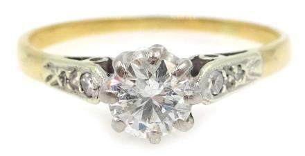 18ct gold diamond solitaire ring with diamond shoulders Condition Report size L, 1.