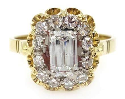 18ct gold emerald cut diamond, with diamond surround, central diamond approx 0.
