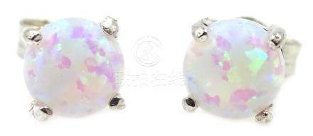 Pair of silver opal stud ear-rings Condition Report <a href='//www.