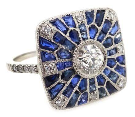 Platinum (tested) sapphire and diamond Art Deco style ring,