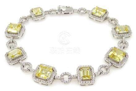 Silver citrine and cubic zirconia bracelet,