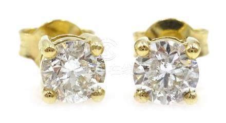 Pair of 18ct gold round brilliant diamond stud ear-rings,